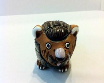 Maguz Painted Ceramic Miniature Lion - Hand-Painted