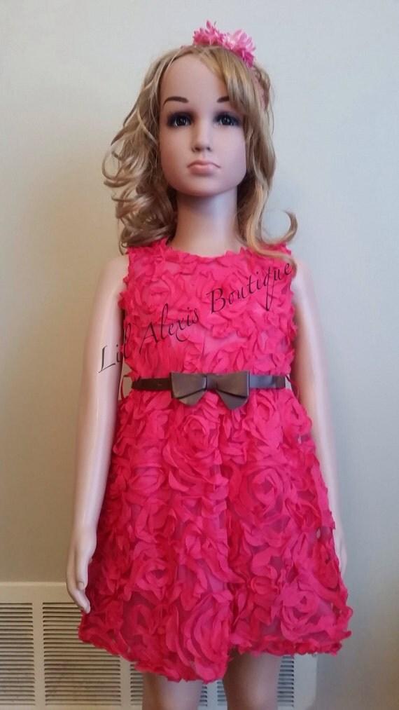 pink rosette brown belt dress for toddler by