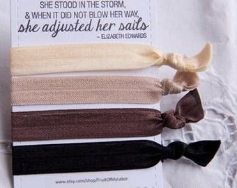 Set of Four Elastic Hair Ties - Coffee Please