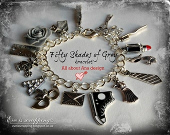 Inspired Fifty Shades of Grey Charm Bracelet for fan 50Shades handmade Gift -All about Ana design