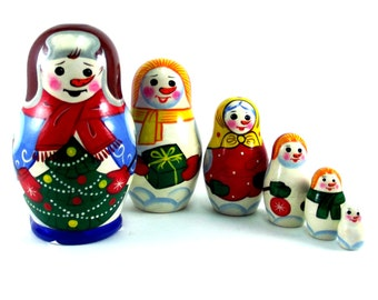 Nesting doll 6 psc Snowman. Russian matryoshka. The original birthday gift.