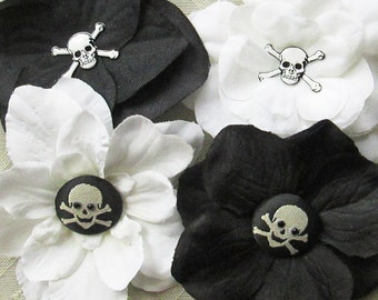 Crossbones Mini Hair Flower Clips/Pins or Shoe Clips - 4 Colors/Styles!