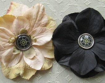 Functional Compass Mini Hair Flower Clips/Pins or Shoe Clips