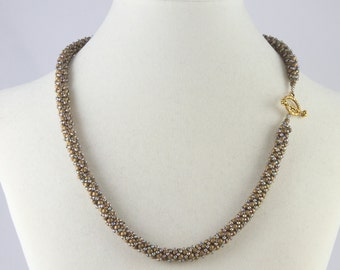 Russian Spiral Beaded Necklace in Gold Multi-color