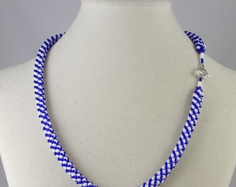 Russian Spiral Beaded Necklace in Cobalt Blue and White