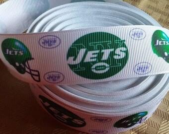 SALE-1; Jets football ribbon-nfl jets ribbon- crafting-
