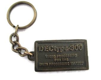 Vintage 1970s Dectype 300 Word Processing  Bronze Tone Key Chain Key Saver