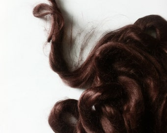Ramie Roving : Ramie fibers in tones of Chocolate Brown