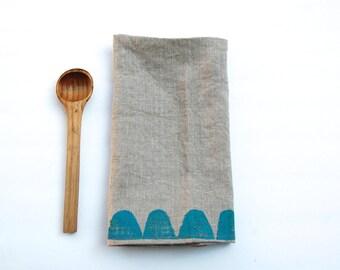 Hand Block Printed linen Tea Towel in Turquoise Gumdrops