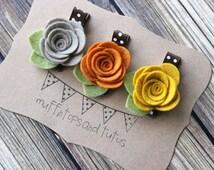 Fall felt flower hair clip set - baby, toddler girls hair clip - flower clippie