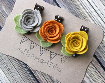Fall felt flower hair clip set - baby, toddler girls hair clip - flower clippie