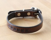 Hand Made Small Leather Dog Collar With Custom Stamping