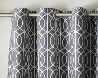 "Pair of 25"" wide Dwell Studio Bella Porte charcoal grey rod panels, drapes, curtains 25x63"" 25x84"" 25x96"" or 25x108""  gate trellis"