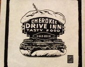 Southern Comfort Food Cherokee Drive Inn Hamburger Beer Linocut Relief Block Print