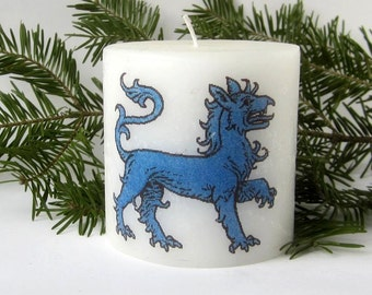 SCA East Kingdom Blue Tiger Decorated Candle, Blue Tyger, Populace Badge, Heraldic Tiger, SCA Heraldry, SCA Camping, sca Vigil, Scadian East