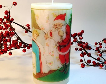 Santa's Visit Holiday Candle, Christmas Candle, Christmas Lights, Visit from Santa Claus Decor, Christmas mantle, Christmas Decoration