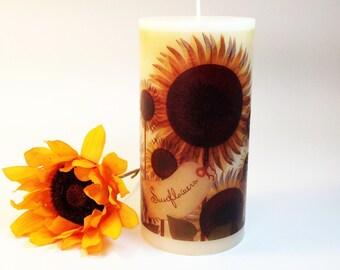 Primitive Sunflower Decorative Candle, Sunflower Kitchen Decor, Sunflower Art, Country Folk Art Primitive Decor Rustic Decor Sunflower Decor