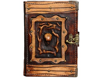 Skull Head On A Brown Leather Journal / Notebook / Diary / Sketchbook / Leatherbound