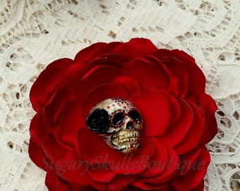 Day of the Dead, Sugar Skull, Wedding, Book of Life Accessory, Dia de los Muertos, Red Satin Hair Clip Flower, or Brooch, Halloween