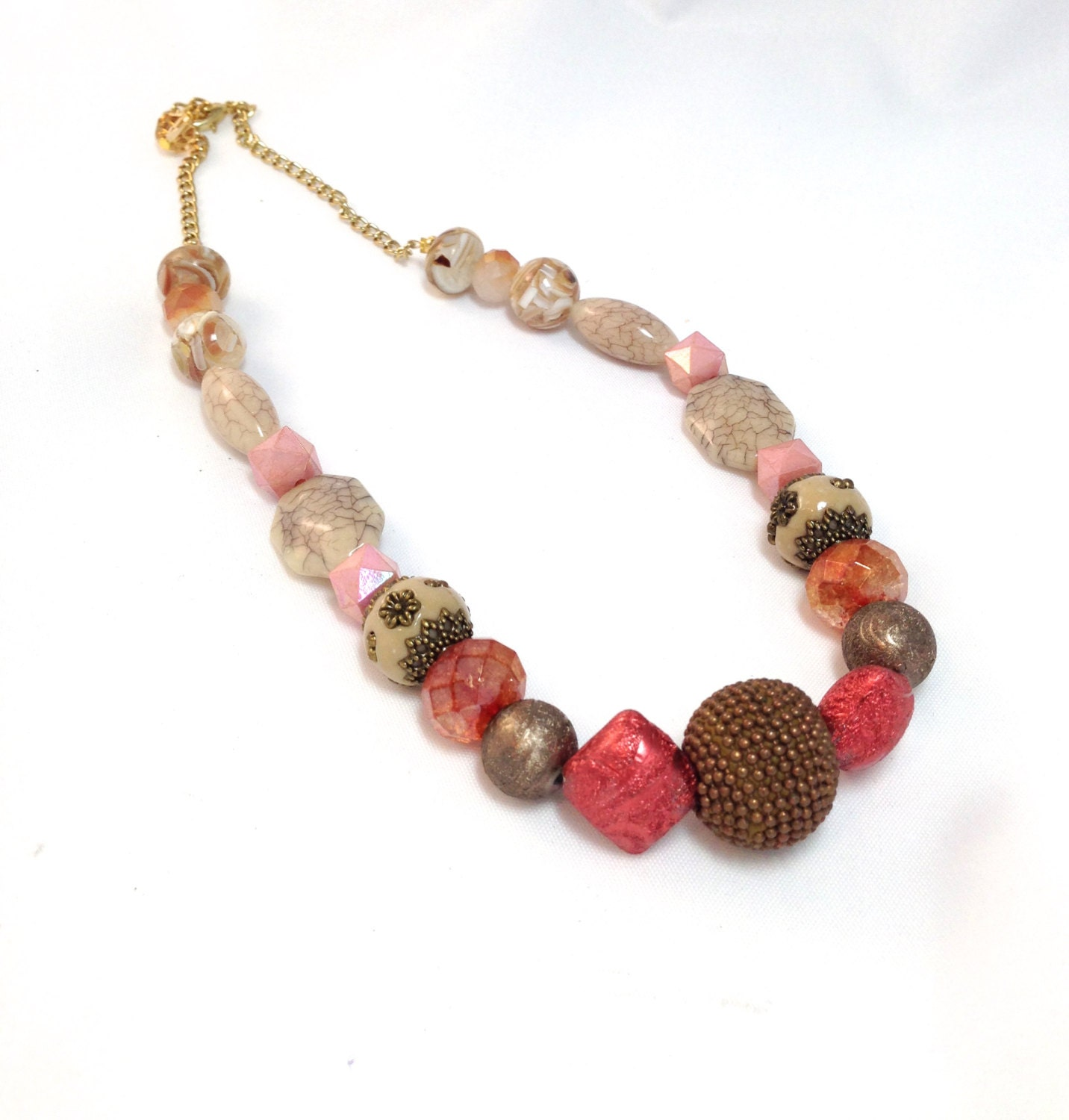 clearance chunky necklace chunky beaded necklace pink