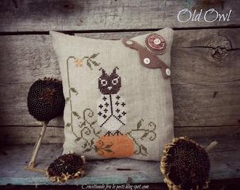 Old owl primitive cross stitch