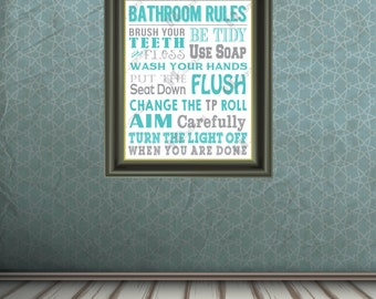 DIGITAL Bathroom Rules Print - 8x10