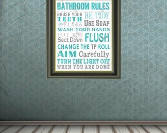 DIGITAL Bathroom Rules Print - 8x10