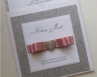 Wallet Wedding Invitation with Silver Glitter. Diamante Heart wedding invite in Dusky Pink. Sparkly and Glitzy wedding stationery.
