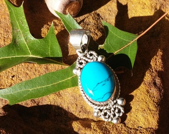 Taxco Mexico Sterling and Turquoise Pendant