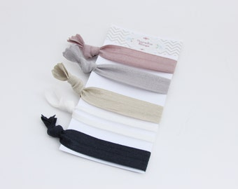 Elastic Ponytail Holders - Neutrals Mauve - Ponytail Holders - Set of 5