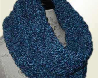 Knit Infinity Scarf Hood Neckwarmer Cowl OOAK Rich Blues Ready to Ship Infiniti Scarf
