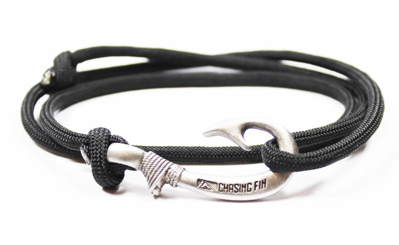 new adjustable paracord hook bracelet black