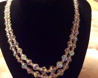 Aurora Borealis Double Strand Necklace 1950's
