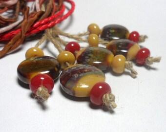 Lampwork Glass beads handmade  Beads colorful  mustard red  dark red  amber.