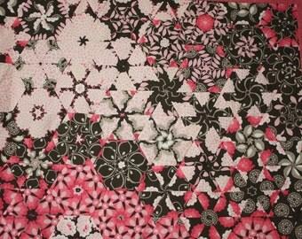 Lap Throw Quilt One Block Wonder Pink Cream Brown
