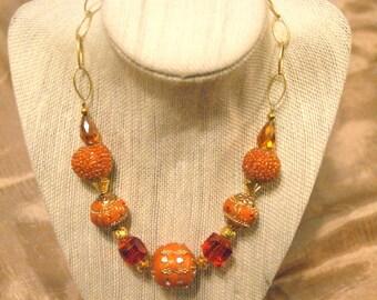 Handmade Orange Mixed Beads Necklace
