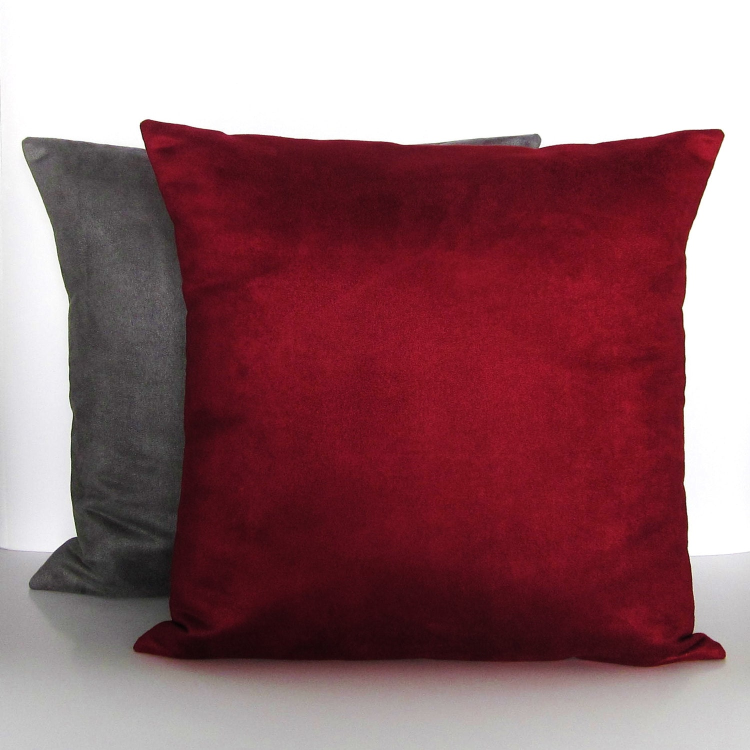 Burgundy Microfiber Throw Pillows : Burgundy Gray Suede Pillow Covers Decorative Accent Toss Throw