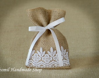 Wedding Burlap Favor Bags,Rustic Favor Bags with lace, SET OF 60