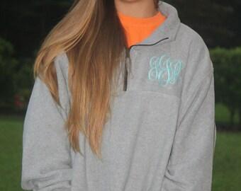 SALE!!! Monogrammed Unisex Fleece Quarter Zip Sweatshirt, Monogram Fleece Pullover with Quarter Zip, Monogram Sweatshirt, Monogram Pullover