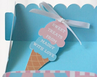 Ice Cream Cone Thank You/Favor Tags Set of 12