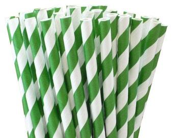 Set of 25 Dark Green Paper Straws