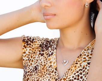 Sterling Silver Heart Shaped Pendant with Cubic Zirconia