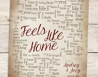 Wedding Song Lyric Art: Feels Like Home by Chantal Kreviazuk - Personalized Wedding Gift - Made To Order