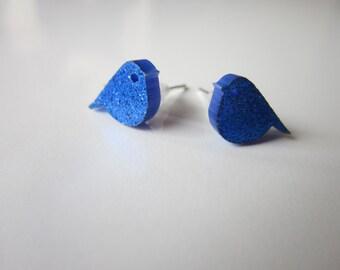 Glittery little blue bird studs