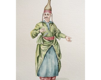 Watercolor Painting The costume of Ottoman-The confectioner to the palace,wall decor