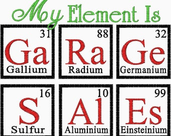 Garage Sales Embroidery design Chemistry Periodic Element table