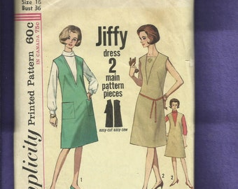 1964 Simplicity 5536 Ultra Deep V Neck Jiffy Jumper or Sleeveless Dress with Vestee Size 16
