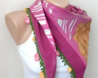 pink scarf pink roses  flower green white yellow  cotton turkish yemeni oya handmade turkish