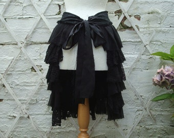Upcycled Black Charcoal Bustle Woman's Clothing Mori Girl Tattered Lace Tribal Cotton Lace Layers Ruffles Gothic
