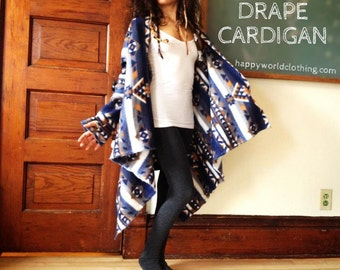 Deluxe Drape Cardigan - Large Comfy Flowing Fleece Cardigan for Everyday Warmth with Thumb Holes and Feminine Fit